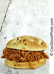Pulled Chicken Sandwich - Close up of pulled chicken...