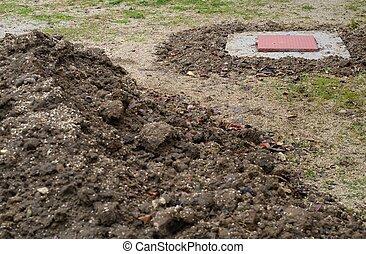 água, dreno, esgoto, tampa, escavação