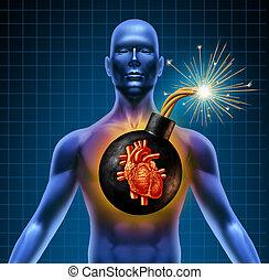humano, corazón, ataque, tiempo, bomba