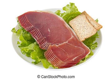 prosciutto with toasts on the plate