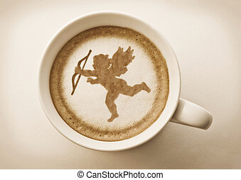 valentines cupid latte art - valentines cupid drawing on...