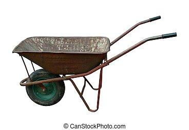vindima, Enferrujado, antigas, carrinho de mão