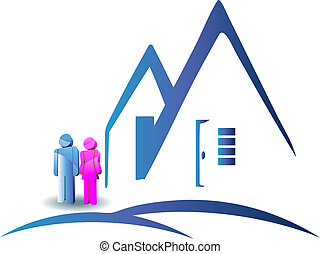 Couple with a new house logo - Couple with a new house