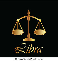 Libra zodiac sign in gold