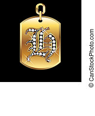 H medal in gold and diamonds vector