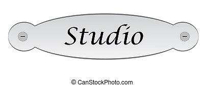 door plate with the studio text
