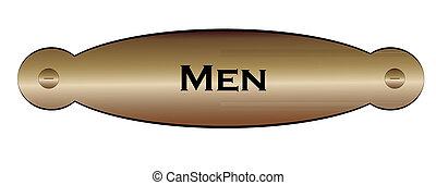 door plate with the text men