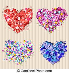Set of floral vintage valentines