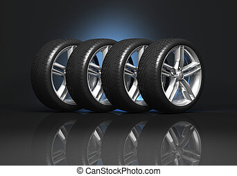 Set of car wheels - Set of four luxury car wheels on black...