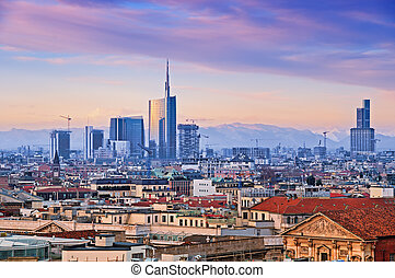 Milan skyline - View of Milan`s business district from...