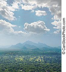 view from  mount Sigiriya  into the valley, Sri Lanka (Ceylon).