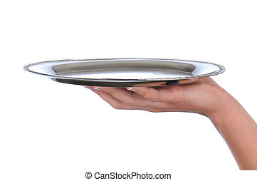 Woman's hand holding a silver tray