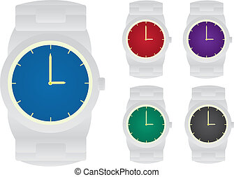 Watches - Isolated watches.  5 different colored faces.