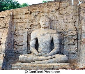 gal vihara Buddha Polonnaruwa. Sri lanka. Unesco world...