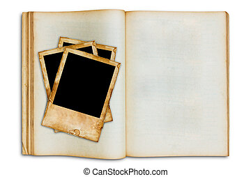 old vintage picture on old blank open book