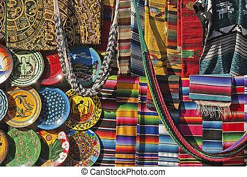 colorido, mexicano, artesanías