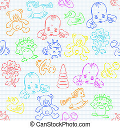 vector seamless background with baby and toys