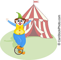 vector cheerful clown unicycling in front of circus tent