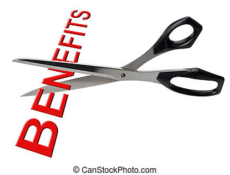 Cutting benefits, isolated - Scissors cutting the word...