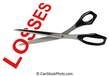 Cutting losses, isolated - Scissors cutting the word loses...