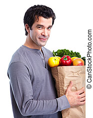 Man with a grocery shopping bag.
