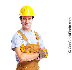 Industrial worker - Industrial worker with yellow helmet...