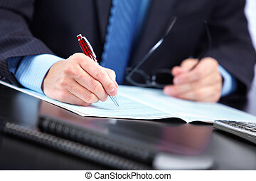 Accountant businessman - Business man working with documents...
