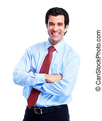 Happy handsome businessman Isolated over white background
