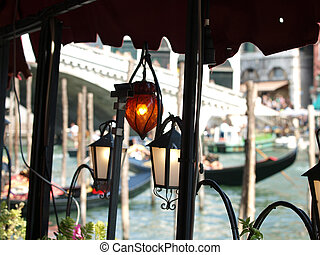 Atmosphere of Canal Grande by lamplight - Venice Italy