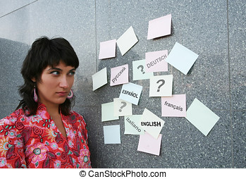 Foreign languages - Young woman who is going to study...