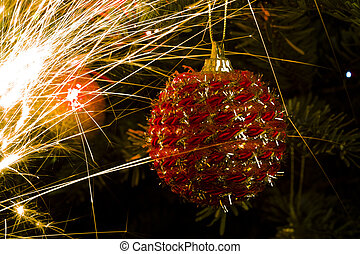 Christmas tree ball and light trails - Christmas treeball...