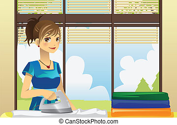 Housewife ironing clothes - A vector illustration of a...