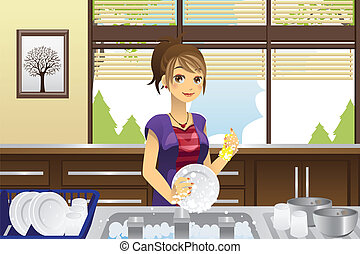 Housewife washing dishes - A vector illustration of a...