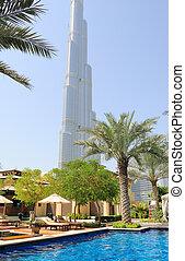 Hotel swimming pool area in Dubai downtown, UAE