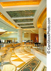 Reception lobby area in luxurious hotel, Dubai, UAE