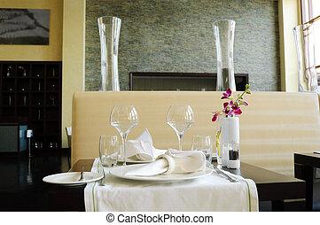 Served table in luxury restaurant, Dubai, UAE - Served table...