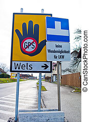 traffic signs for navigation systems. no turning space for...