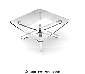 square glass table - Glass table with shaddow on white...