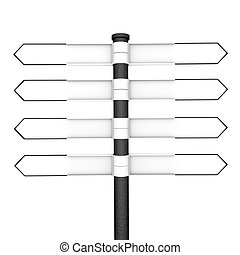 Signpost - Directional post with eight blank pointers, four...