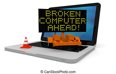 Broken computer - Roadworks cart on laptop displaying broken...