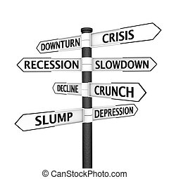 Signpost pointing to crisis - Crisis-related names on a...