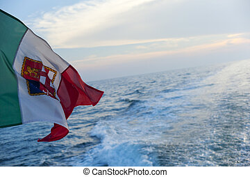 Italian flag on the sea