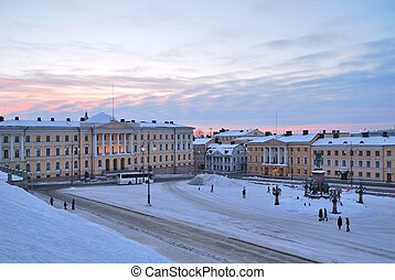 Helsinki Senate Square at dawn - Beautiful winter sunrise in...