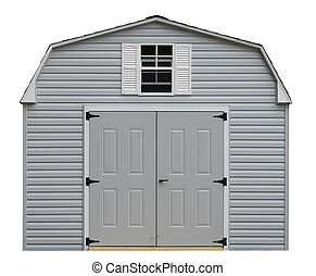 A nice new gray storage shed isolaed on white with room for...