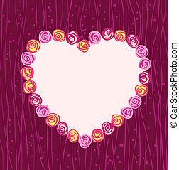 vector roses heart frame