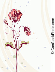 Greeting card with flowers, vector background