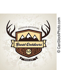 Outdoors emblem - Wood themed outdoors emblem with mountains...