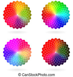Color flower vector wheel, set