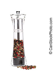 peppermill with peppercorns on white background