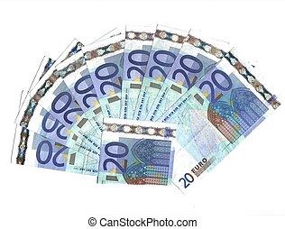range of 20 euro banknotes
